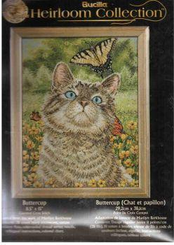 Buttercup Cat 45397 / Котёнок, бабочка, лютики