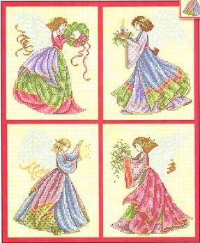 Petite Christmas Angels JE050 / Маленькие рождественские ангелы (схема)