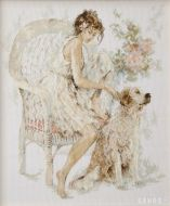 Girl In Chair with Dog PN-0007951 / Девушка на стуле с собакой