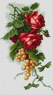 Красные розы с виноградом B2229