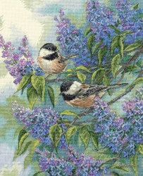 Chickadees and Lilacs 35258 / Синицы и сирень