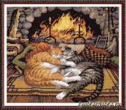 All Burned Out Cats 72-120007 / Коты у камина